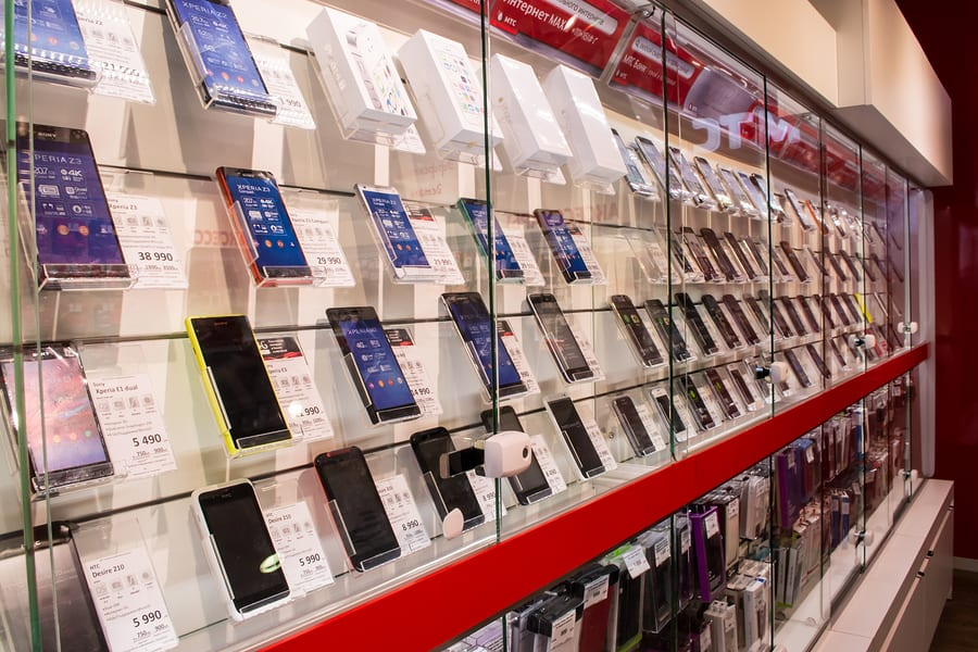 Mobile Phones On Display In A Shop.