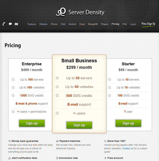 Server Density new pricing structure
