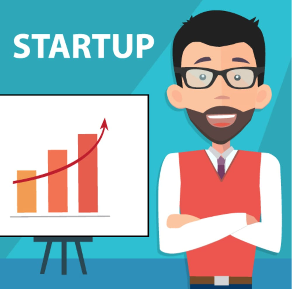 startup entrepreneur presenting information with business results