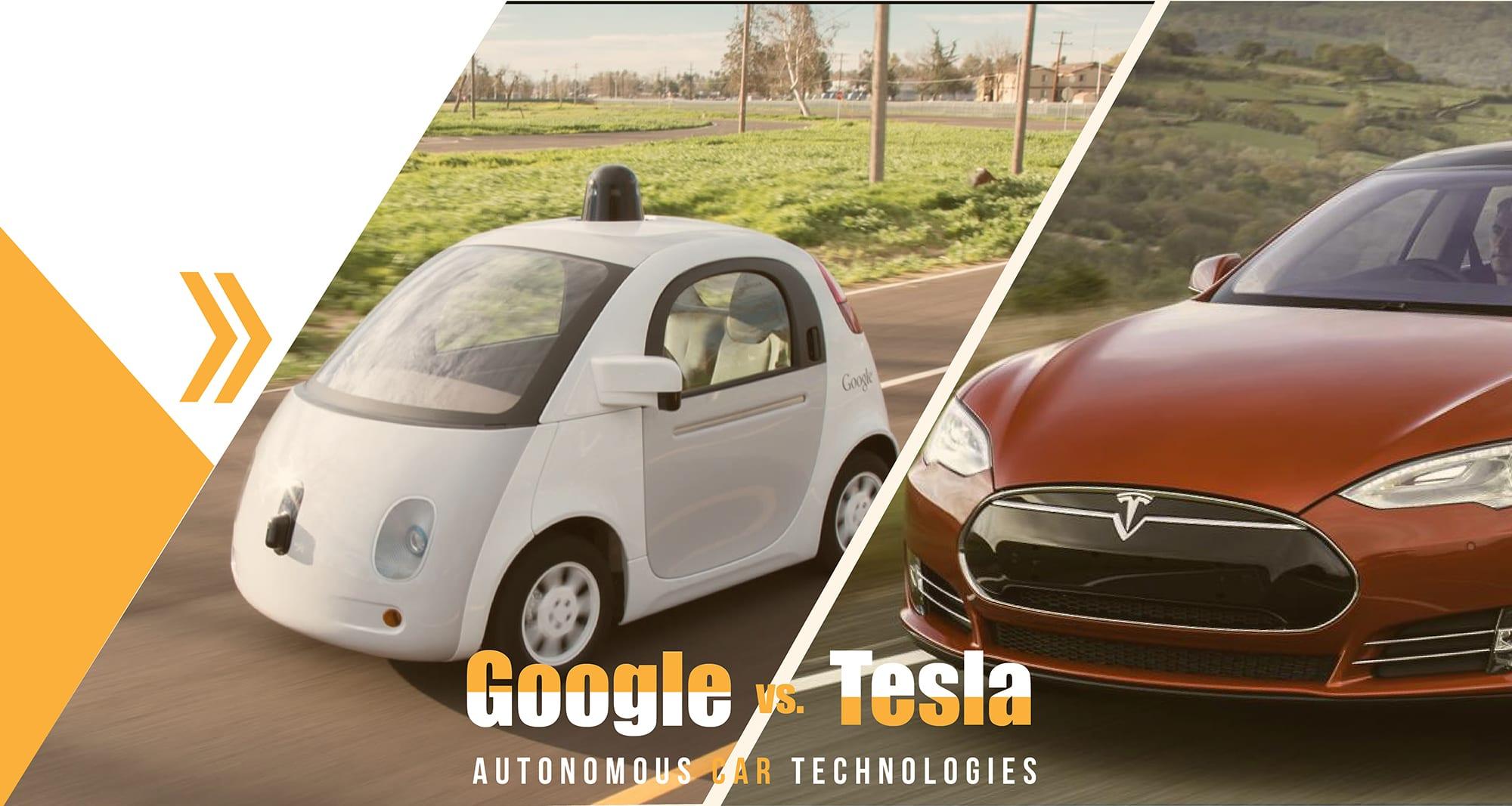 How Tesla and Google's autonomous car technologies are