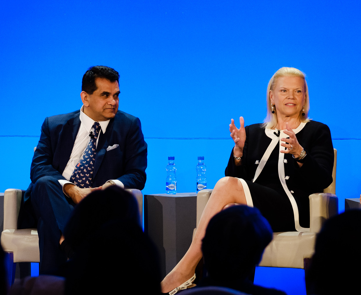 Ginni Rommetty Chairman & CEO IBM with Amitabh Kant CEO Niti Aayog seen together at the IBM Skills Summit in New Delhi